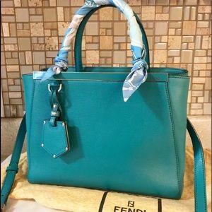 Auth. Fendi Turquoise Petite 2Jours Tote Bag